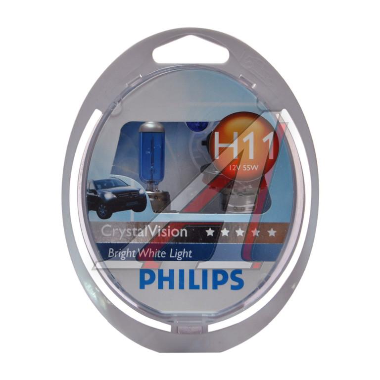 Автомобильная лампа H11 55W Crystal Vision 2шт. + W5W 2шт. Philips 12362CVSM - фото 2
