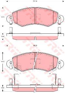 Колодки тормозные OPEL Agila 00-, SUZUKI IGNIS 03- передние (4шт.) TRW GDB1420, 4706835/55810-84E00/4704578/4706748
