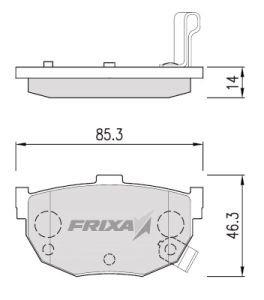 Колодки тормозные KIA Cerato HYUNDAI Elantra (-00) задние (4шт.) HANKOOK FRIXA S1H01R, 58302-29A00
