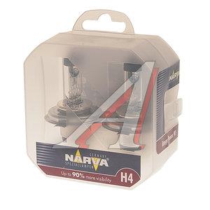 Лампа 12V H4 60/55W +90% P43t бокс (2шт.) Range Power NARVA N-48003RP2, АКГ12-60+55(Н4)
