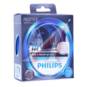Лампа 12V H4 60/55W +60% P43t бокс (2шт.) Blue Colorvision PHILIPS 12342CVPBS2, P-12342CVPB2, АКГ12-60+55(Н4)