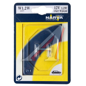 Лампа 12V W1.2W W2x4.6d бесцокольная блистер 2шт. NARVA 17037B2, N-17037-2бл