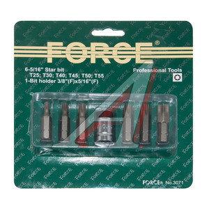 "Набор бит 3/8"" TORX T25-55 с держателем в блистере 7 предметов FORCE F-3071, 3071,"
