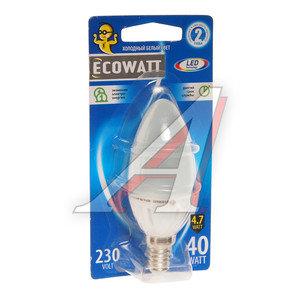 Лампа светодиодная E14 B35 4.7W(40W) 4000K 230V холодный белый свеча ECOWATT 4606400613992,