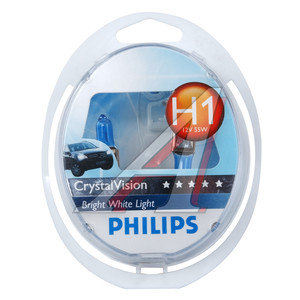 Лампа 12V H1 55W + W5W/T105 P14.5s бокс 2шт.+2шт. Crystal Vision PHILIPS 12258CVSM, P-12258CV2