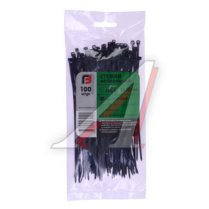 Хомут-стяжка 150х3.0 пластик черный (100шт.) FORTISFLEX 1003150-1, 49408