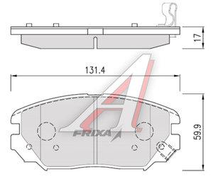 Колодки тормозные HYUNDAI Sonata NF (04-) передние (4шт.) HANKOOK FRIXA S1H17, 58101-3KA20