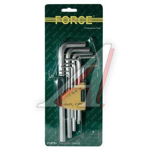 Набор ключей шестигранных 1.5-10мм удлиненных 9 предметов FORCE F-5093L, 5093L,