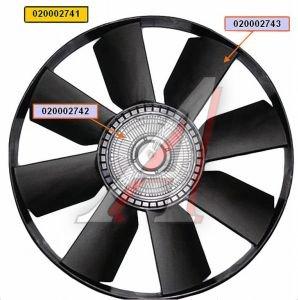 Вентилятор КАМАЗ-ЕВРО 654мм с вязкостной муфтой и обечайкой СБ (дв.740.30,31,CUMMINS) BORG WARNER 020002741