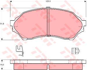 Колодки тормозные MAZDA 323 BJ (97-02) передние (4шт.) TRW GDB3193, BJYM-33-23Z