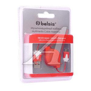 Кабель micro USB 0.8м красно-белый рулетка BELSIS BELSIS BGL1182