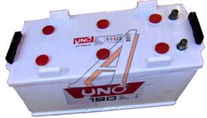 Аккумулятор UNO 190А/ч обратная полярность, универсальные клеммы 6СТ190, 83572