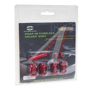 Вентиль бескамерной шины сборно/разборный 4шт. Starleks V007RD, красный