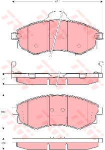 Колодки тормозные HYUNDAI Sonata 3,Elantra передние (4шт.) TRW GDB3256, GDB895/3283,