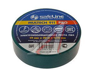 Изолента ПВХ зеленая 19ммх20м SAFELINE 9370, SAFELINE 19х20