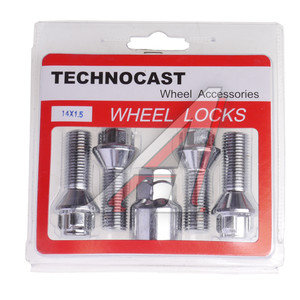 Болт колеса М14х1.5х30 секретки конус 4шт. 2 ключа 21мм RACING C2/1,