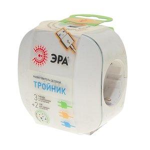 Тройник 3 гнезда 220V + 2 USB 1000mA, c заземление, белый ЭРА SP-3e-USB