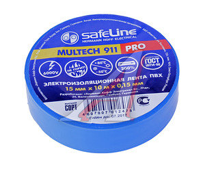Изолента ПВХ синяя 15ммх10м SAFELINE 9359, SAFELINE 15х10