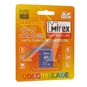 Карта памяти 32GB MIREX SDHC CLASS 10 MIREX 32GB SDHC, 13611-SD10CD32