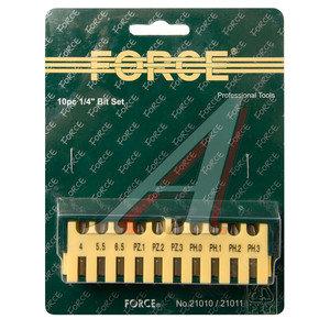 "Набор бит 1/4"" SL 4-6.5мм PH 0-3 PZ 1-3 в блистере 10 предметов FORCE F-21010,"