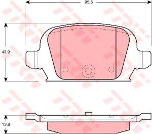 Колодки тормозные OPEL Corsa, Tigra (00-) задние (4шт.) TRW GDB1412, 1605965/1605994/1605397