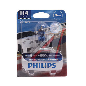 Лампа 12V H4 60/55W +150% P43t-38 блистер (1шт.) Racing Vision PHILIPS 12342RVбл, P-12342RVбл