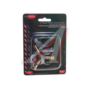 """Переходник для компрессора 6мм Y-образный """"елочка""""с хомутами в блистере ROCK FORCE RF-E102-5/1"""
