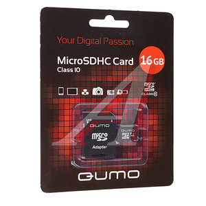 Карта памяти 16GB MicroSD class 10 + SD адаптер QUMO QUMO 16GB MICRO SD 10, 17560