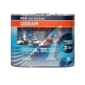 Лампа 12V H4 60/55W + 20% P43t бокс 2шт. Cool Blue Intense OSRAM 64193CBI-DUOBOX, O-64193CBI2(EURO), АКГ12-60+55(Н4)