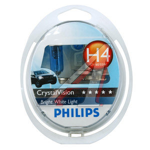 Лампа 12V H4 60/55W + W5W/T105 P43t бокс 2шт.+2шт. Cristal Vision PHILIPS 12342CVSM, P-12342CV2, АКГ12-60+55(Н4)