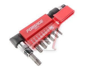 """Набор бит 1/4"""" TORX Т10,15,20,25,27,30,40 с Г-образным держателем 8 предметов FORSAGE 2081D, FS-2081D"""
