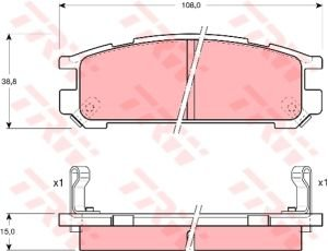 Колодки тормозные SUBARU Impreza, Legacy задние (4шт.) TRW GDB990,