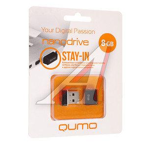Карта памяти USB 8GB Nano Black QUMO QUMO 8GB NANO BLACK, 18324,