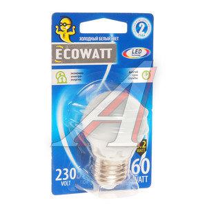 Лампа светодиодная E27 A60 6.2W(60W) 4000K 230V холодный белый шар ECOWATT 4606400419280,