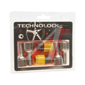 Болт колеса М12х1.5х28 секретки сфера комплект 4шт. 2 головки под ключ 17мм TECHNOLOCK TECHNOLOCK M, M