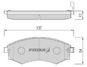 Колодки тормозные HYUNDAI Elantra, Lantra (91-) (1.8) передние (4шт.) HANKOOK FRIXA FPH02, 58101-28A20