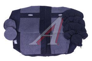 Авточехлы универсальные велюр (8 молний) черные/т.синие (11 предм.) Transform AUTOPROFI TRS-002 BK/D.GY