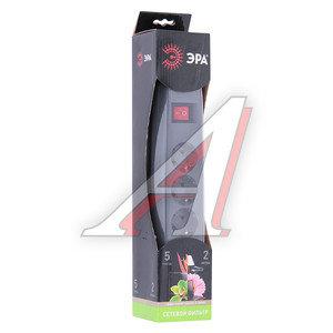 Фильтр сетевой 2м 10А 2200Вт, 5 гнезд, с заземлением, выключатель, евро, черный ЭРА SF-5es-2m-B, ЭРА,
