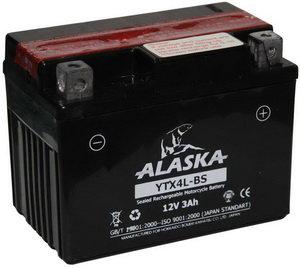Аккумулятор ALASKA 3А/ч мото 6СТ3 YTX4L-BS, 83501,