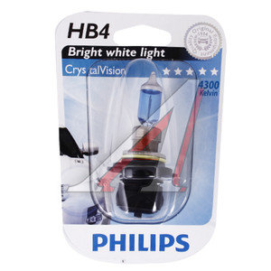 Лампа HB4/9006 12V 55W Cristal Vision блистер PHILIPS 9006CVB1, P-9006CVбл