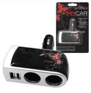 Разветвитель прикуривателя 2-х гнездовой +2 USB 12-24V MyCar PHANTOM PH2152