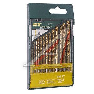 Сверло по металлу HSS 13шт.1.5-6.5мм титановое покрытие FIT набор FIT-34217, 34217