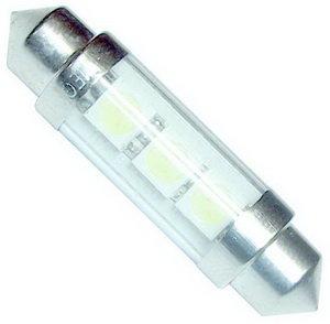 Лампа 12VхC15W (SV8.5/8) 39мм 3 SMD свет-да SUP.BR.WHITE MEGAPOWER M-50432W,