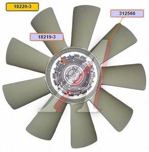 Вентилятор КАМАЗ-ЕВРО 710мм с вязкостной муфтой в сборе (дв.740.50,51 до 2007 г.) BORG WARNER 18220-3, EVF-18220-3