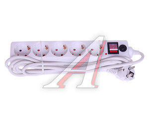 Фильтр сетевой 3м 16А 3500Вт, 5 гнезд, с заземлением, выключатель, евро Volsten SP 5x3