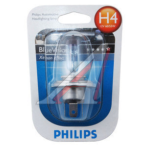 Лампа H4 12V 60/55W P43t Blue Vision блистер PHILIPS 12342BVB1, P-12342BVбл-OLD