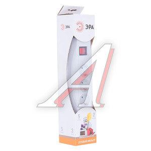 Фильтр сетевой 2м 10А 2200Вт, 5 гнезд, с заземлением, выключатель, евро, белый ЭРА SF-5es-2m-W, ЭРА