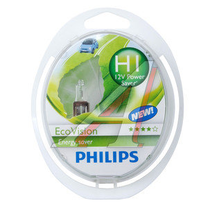 Лампа 12V H1 55W P14.5s бокс 2шт. Eco Vision PHILIPS 12258ECO2, P-12258ECO2, А12-55(Н1)