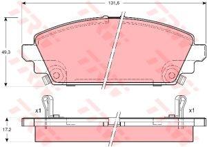 Колодки тормозные HONDA Accord (1.6) (98-02) передние (4шт.) TRW GDB3189, 45022-S6F-E50/45022-S6F-305/45022-S1A-E80