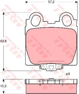 Колодки тормозные LEXUS GS (3.0/4.3) (97-), IS (2.0/3.0) (99-) задние (4шт.) TRW GDB3233, 04466-22180/04466-30151/04466-30161/04466-30190